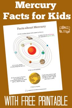 Fun Mercury Facts for Kids With Free Printables - Esme Francis - Planets Activities, Solar System Activities, Solar System Projects, Kid Activities, Fun Facts For Kids, Science For Kids, Science Ideas, Science Experiments, Mercury Facts For Kids