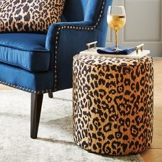 Nothing like a (faux) leopard-skin drum to summon animal energies to a room, right? Our ottoman is designed to jazz up any design style with its ability to serve as portable seating or a coffee table with the addition of a tray. Wild, right? Cheetah Print Rooms, Leopard Room, Leopard Home Decor, Leopard Prints, Red Leopard, Leopard Living Rooms, Animal Print Decor, Animal Prints, Colorful Apartment