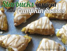 Recipe for Mini Glazed Pumpkin Scones, taste just like the ones at Starbucks!!! <3  #fall #baking #pumpkin #scones #recipe #starbucks