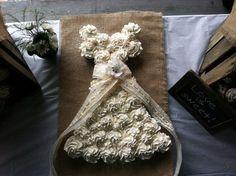 Cupcake Wedding Dress Cake - Bridal Shower - Burlap & Lace--Shabby Chic for Bride Burlap Bridal Showers, Chic Bridal Showers, Bridal Shower Rustic, Bridal Shower Gifts, Wedding Dress Cupcakes, Bridal Shower Cupcakes, Shower Cakes, Cupcake Wedding, Cupcakes Princesas