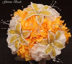 YELLOW-BEADED-Flower-Quinceanera-Wedding-Bouquet-16-PC-Set-FREE-BOUTONNIERES