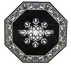 "24"" Black Marble Coffee Table Top Marquetry Inlay Mosaic Art Furniture Decor #AgraHeritageMarbleCrafts #ArtsCraftsMissionStyle #Marvelous #Black #MarbleTop #DiningTable #MosaicTable #MarquetryTable #KitchenDecor #BedroomDecor"