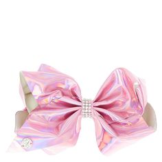 """<P>Our next style of JoJo's Bows include these shiney metallic colored bows. Each with a holographic shine and embellished with rhinestones in the center! </P><P><STRONG>Bow</STRONG> by <STRONG>JoJo Siwa©</STRONG></P><UL><LI>W 7"""" <LI>Also available in silver</LI></UL>"""