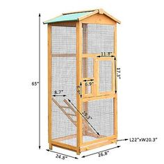 Wooden Large Bird Cage Pet Play Covered House Ladder Feeder Stand Outdoor Perch With Large Bird Houses, Large Bird Cages, Bird Houses Diy, House Ladder, Budgie Toys, Bird Cages For Sale, Cages For Birds, Parakeet Cage, Diy Bird Cage