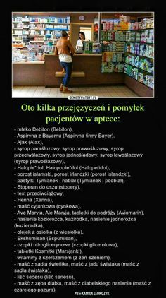 Przejęzyczenia i pomyłki pacjentów w aptece Polish Memes, Weekend Humor, Funny Mems, Quality Memes, Love Memes, Sarcastic Humor, Wtf Funny, Riddles, Funny Photos