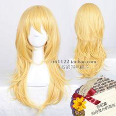 Your Lie in April Miyazono Kaori Beautiful Long Blonde Cosplay Wig Hair &691