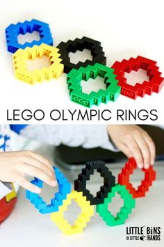 The Summer Olympics are approaching! Use your basic bricks for this fun and easy LEGO Olympic Rings activity! Learn a little history of the rings colors! Olympic Games For Kids, Olympic Idea, Kids Olympics, Summer Olympics, Office Olympics, Lego Activities, Craft Activities For Kids, Indoor Activities, Olympic Crafts