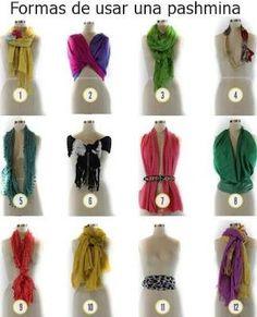 Diferentes formas de usar un foulard y una pashmina