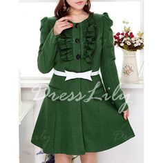 Fashionable Scoop Neck Ruffles Embellished Long Sleeve Green Coat For Women