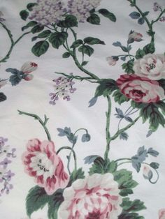 2 Panels Drapes Vintage Waverly Chintz Fabric Victorian Collection Roses Lilacs
