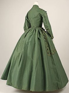 Dress, 1864-65, cotton, wool, silk