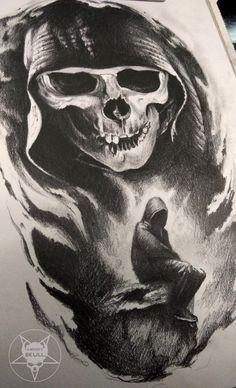burning rose by AndreySkull on DeviantArt inside by AndreySkull Evil Skull Tattoo, Skull Tattoos, Body Art Tattoos, Sleeve Tattoos, Tattoo Sketches, Tattoo Drawings, Brust Tattoo, Reaper Tattoo, Totenkopf Tattoos