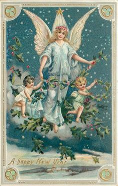 A HAPPY NEW YEAR  angel in blue robe holds holly on cloud in sky between two cherubs
