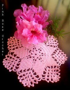 PINK ROSE CROCHET /: Centrinho Star Azalea Flower - Crochet only pic