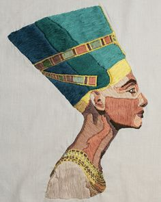 Nefertiti embroidery  #embroidery #nefertiti #embroideryanddesign #egypt