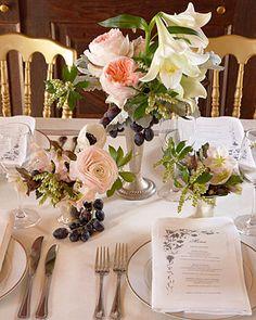 """The flower arrangements evoked Dutch masters' paintings.""   source: Martha Stewart Weddings    Next: Candle Decor"