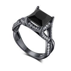 2.40CT Princess Cut Black Diamond Rhodium Plated Women's Ring