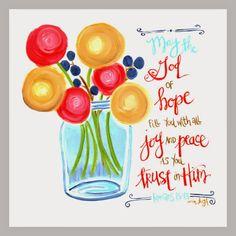 Scripture Art, Inspirational art,  hope, joy, peace, trust Bible Verse Art Romans  Art by Erin Leigh