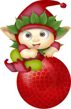 CHRISTMAS ELF AND ORNAMENT CLIP ART