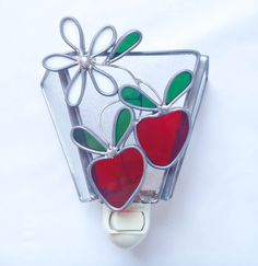 Red strawberries stained glass night light by Nostalgianmore, $25.00