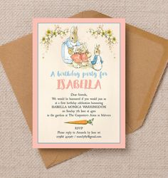 Personalised Flopsy Bunnies Beatrix Potter Kids Party Invitation Cards and Envelopes Peter Rabbit Birthday, Peter Rabbit Party, Bunny Birthday, 1st Birthday Girls, First Birthday Parties, First Birthdays, Birthday Ideas, Baptism Invitations, Birthday Party Invitations