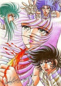 Gemini Saga, Aquarius Camus, Capricorn Shura and Athena