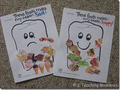 Use this fun activity to teach your kids about foods that make teeth happy and those that make them sad.