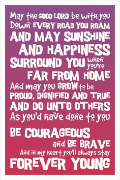Typography Art Print - Forever Young - 12x18 - inspirational motivational song lyrics white purple pink fade morrocan island nursery decor. $60.00, via Etsy.