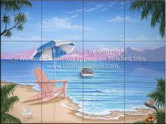 Backsplash designs - Beach Scene tiles - Exotic Beach - JW - Tile Mural