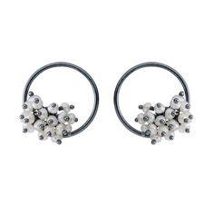 be508e4bd Undina Collection: Adva pearl small hoop earrings. Sterling Silver Earrings  StudsDiamond EarringsSemi ...