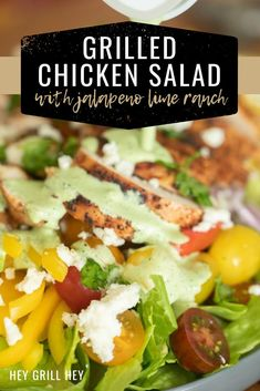 This Grilled Chicken Salad with Jalapeno Lime ranch is a refreshing, healthy way to enjoy grilled chicken. Beautifully seasoned chicken paired with a subtly spicy jalapeno lime ranch take a boring old salad from drab to fab! Ranch Chicken Salad Recipe, Chicken Salad Dressing, Lime Salad Dressing, Grilled Chicken Salad, Grilled Chicken Recipes, Salad Dressing Recipes, Bbq Chicken, Bbq Recipes Sides, Grilling Recipes