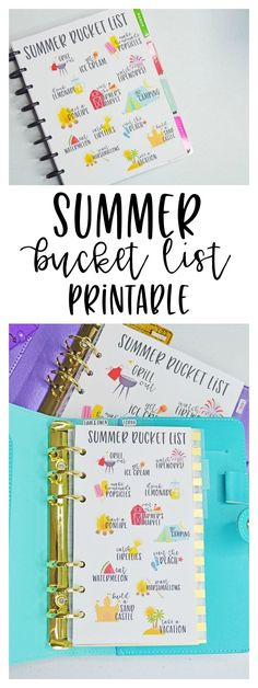 Summer bucket list printables for your planner.