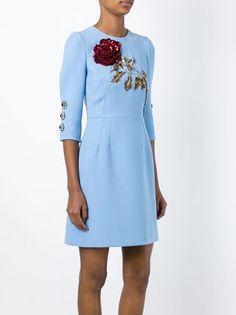 Dolce & Gabbana платье с вышитой пайетками розой