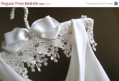 ON SALE Padded Wedding Dress Hanger .... Jeweled Lace Hanger. $49.30, via Etsy.