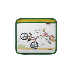 IPad Cover. Ding Duck crashing his bike. When he is not crashing, Ding attempting to fly. $55 from the Swamp Cartoons Zazzle store. http://www.zazzle.com.au/swamp_ding_duck_bike_crash_ipad_sleeve-205596936220376135