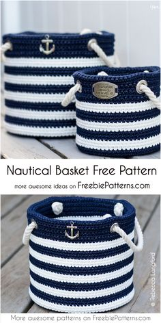Nautical Basket [Free Crochet Pattern] The Effective Pictures We Offer You About crochet blanket patterns A quality picture can tell. Basket Weave Crochet, Crochet Basket Pattern, Knit Basket, Crochet Baskets, Crochet Stitches, Knitting Patterns, Crochet Basket Tutorial, Basket Weaving Patterns, Crochet Edgings