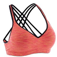ATTRACO Womens Fitness Work Out Sports Bra Padded Comfort Wire Free Orange XL >>> Find out more about the great product at the image link.