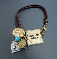 Cowgirl Bling HELL ON HEELS Charms Gypsy BRACELET Leather Hammered metal our prices are WAY BELOW RETAIL! all JEWELRY SHIPS FREE! www.baharanchwesternwear.com baha ranch western wear ebay seller id soloedition