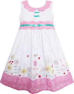922ac5758 Details about Sunny Fashion Girls Dress Sunflower Bubble Lily Flower Garden  Print Size 4-12