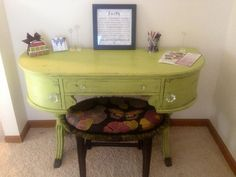 At Flea Market To Fabulous, we love to 'Show and Tell'! These fabulous pieces, repainted and recovered, found a new home as a desk in a customer's home! See more fabulous antique, vintage and repurposed decor on the corner of Spring & Lawrence in Springfield, Illinois!