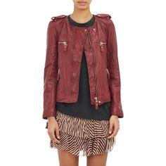 Isabel Marant Étoile Kady Washed Leather Moto Jacket (1,595 CAD) ❤ liked on Polyvore featuring outerwear, jackets, red, red jacket, motorcycle jacket, red motorcycle jacket, leather biker jacket and quilted moto jacket