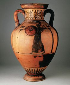 Ancient Greek Black-Figure Amphora with Figure Holding Shield.
