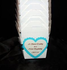 A Sweet Ending To A New Beginning Candy Buffet Favor Boxes. Love the saying for a sweet treat type of wedding favor!
