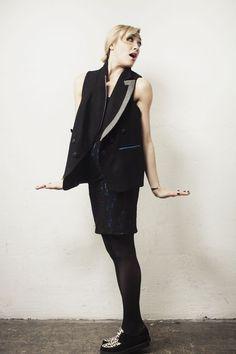 Vest in Black Bandage Dress in Black- Pencey