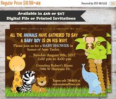 Fall Sale Safari Baby Shower Invitations Giraffe by PartiesR4Fun