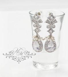 """Swarovski Pearl Zirconia teardrop earrings / Wedding earrings / Earrings Length : H 2"""", W 0.7"""" 100% Brand New / https://www.etsy.com/listing/208946256/wedding-jewelry-aaa-cubic-zirconia?ref=shop_home_active_14"""
