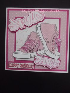 Girlie Sneakers | docrafts.com Girl Birthday Cards, Masculine Birthday Cards, Cat Birthday, Teenager Birthday, Homemade Greeting Cards, Stamping Up Cards, Fall Cards, Penny Black, Kids Cards