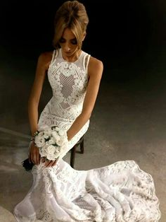 Nadia Coppolino Bartel J'Aton couture lace & leather evening wedding gown encrusted sheer sheath bohemian style dress