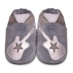 Chaussons bébé cuir Guitare silver (0 à 2 ans) par Shooshoos - 24,90 €