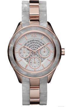 8807c13c0bd5 Armani Exchange Ladies White   Rose Gold Bracelet Watch discovered on  Fantasy Shopper